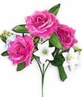 Букет роз с пластиковыми лилиями 6 г. выс. 36 см
