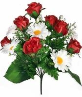 Букет бутонов роз с ромашками 13 г. выс. 48 см