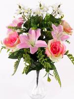 Букет бутонов роз с лилиями 9 г. выс. 40 см