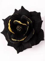 Голова черной розы бархат с золотом 5 сл. диам. 14,5 см