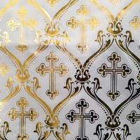 "Белый атлас с золотым накатом ""Ажурный крест"""